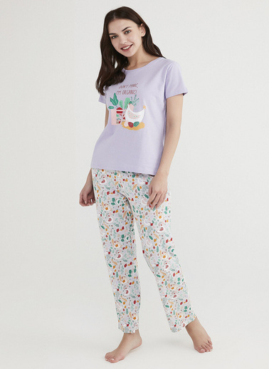 Penti Kadın Çok Renkli Don'T Panic Pijama Takım PNKZX46H21IY Renkli